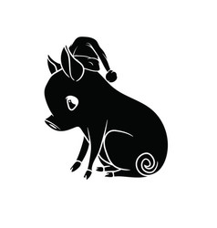 small piglet with a curly tail sitting on the vector image