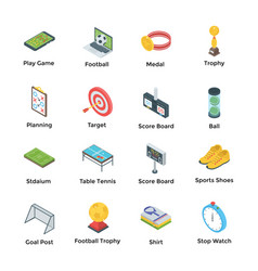 soccer and games icons vector image