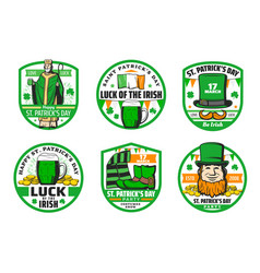 st patrick beer leprechaun hat and gold badges vector image