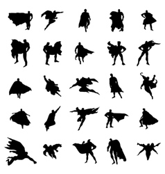 Superhero man silhouettes set vector