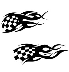 Tattoos with checkered flags vector