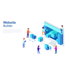 Team of programmers makes web page design site vector