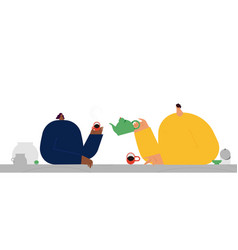 The girl and boy drink tea at break flat vector