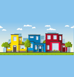 Three modern colorful houses in a suburb vector