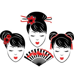 Three portraits of Asian girls vector image