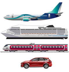 transportation icon set in flat style vector image