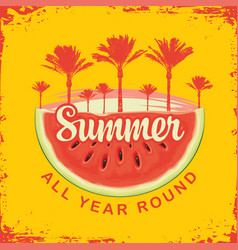 travel banner with watermelon and palm trees vector image