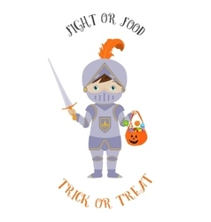 Treak or treat card with cute knight vector