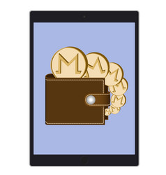 Wallet with monero coins on a tablet screen vector