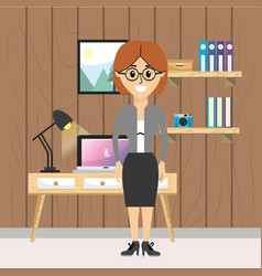 woman at office vector image