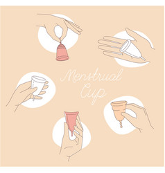 woman holding and using menstrual cup during vector image