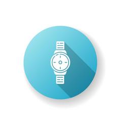 Wrist watch blue flat design long shadow glyph vector
