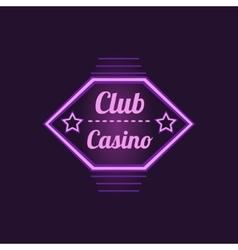Club casino purple neon sign vector