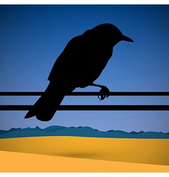 Bird Silhouette with Abstract Desert Scene vector image vector image