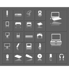 Computer electronic tv and media device icons set vector image