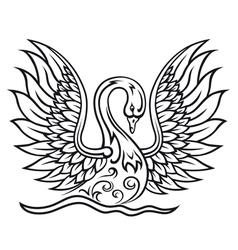 Elegant swan bird in vintage tracery style vector image vector image