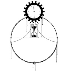 frame with clock and sandglass vector image