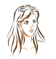 Portrait of cute brunette woman vector image vector image