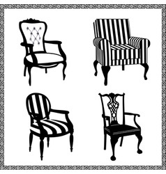 set of antique chairs silhouet vector image