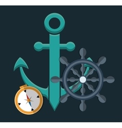 anchor emblem icon image vector image vector image