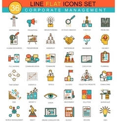 Corporate management animal flat line icon vector image