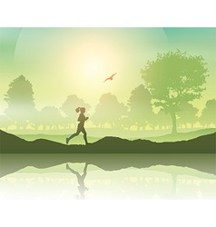Female jogging in the countryside vector image vector image