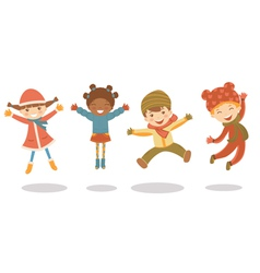Jumping winter kids vector image vector image