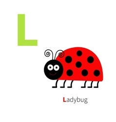 Letter L Ladybug Zoo alphabet English abc with vector image