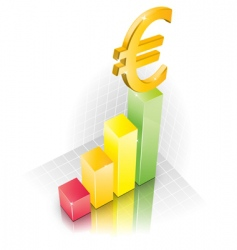 3d euro chart vector image vector image