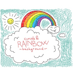 clouds and rainbow background vector image vector image