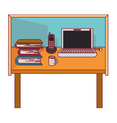 Colorful graphic of desk home office basic with vector