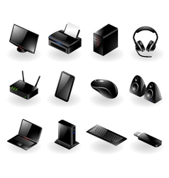 Mixed computer hardware icons vector image vector image