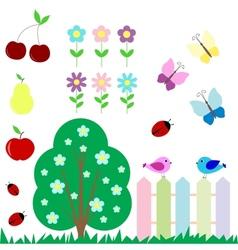 Set of flowers fruits butterflies birds vector image vector image