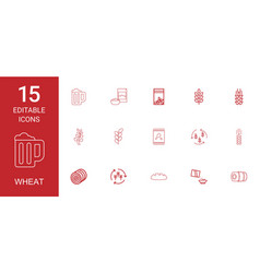 15 wheat icons vector