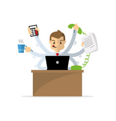 A businessman doing multitasking work vector