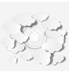 Abstract Clouds and Power button Background vector image