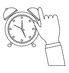 alarm clock with hand time icon image vector image