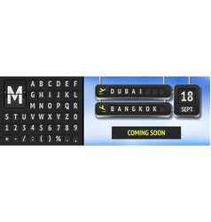 analog airport scoreboard font airline vector image