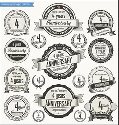 Anniversary retro badges collection 4 years vector