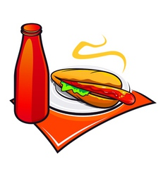 Appetizing hotdog with ketchup vector