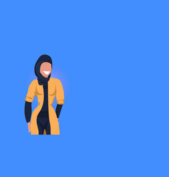 Arab woman happy arabic girl wearing black hijab vector
