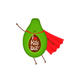 avocado dressed as a superhero cartoon character vector image