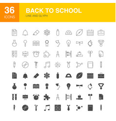 Back to school line web glyph icons vector