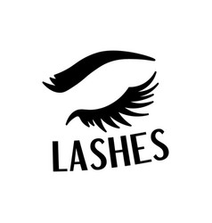 Beautiful black lashes and eyebrow fashion sticker vector