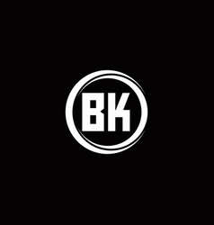 Bk logo initial letter monogram with circle slice vector