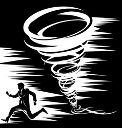 Black-and-white drawing of a tornado from which a vector