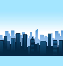 blue city silhouettes skyline vector image