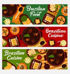 Brazilian food cuisine cartoon banners vector