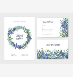 bundle of romantic wedding invitation save vector image