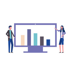 business man and woman office computer chart vector image
